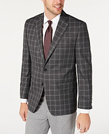 Men's Classic-Fit Gray/Burgundy Windowpane Sport Coat