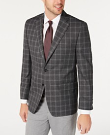 Michael Kors Men's Classic-Fit Gray/Burgundy Windowpane Sport Coat