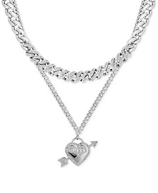 "GUESS Pavé Heart Double-Row Pendant Necklace, 16"" + 2"" extender"