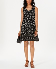 Style & Co Printed Cross-Back Dress, Created for Macy's