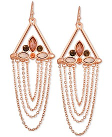 GUESS Rose Gold-Tone Crystal & Chain Drop Earrings