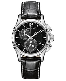Men's Swiss Chronograph Jazzmaster Black Leather Strap Watch 42mm