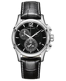Hamilton Men's Swiss Chronograph Jazzmaster Black Leather Strap Watch 42mm