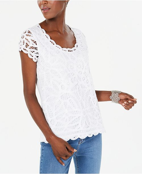 INC International Concepts INC Petite Cotton Lace Top, Created for Macy's