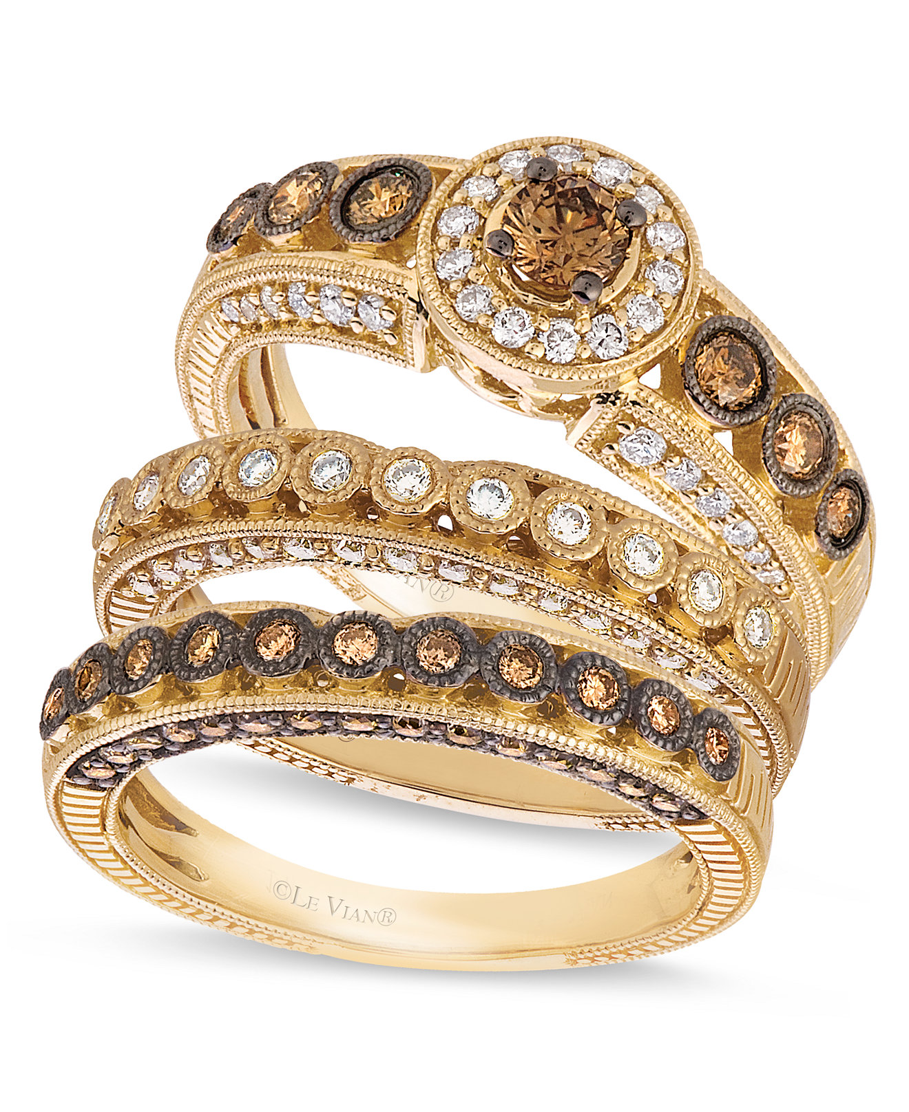 Le Vian Chocolate and White Diamond Stackable Rings in 14k Gold ...