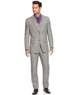 Alfani Light Grey Sharkskin Slim-Fit Suit Separates - Suits & Suit ...