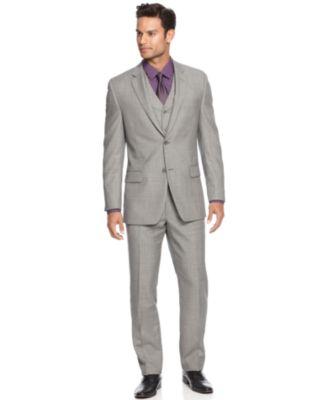 Alfani Light Grey Sharkskin Slim-Fit Suit Separates - Suits & Suit ...