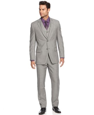 Alfani Light Grey Sharkskin Slim-Fit Suit Separates