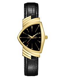 Hamilton Unisex Swiss Ventura Black Leather Strap Watch 32.3x50.3mm
