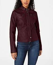 Juniors' Faux-Leather Moto Jacket