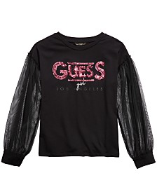 GUESS Big Girls Mesh-Sleeve Sequin Top
