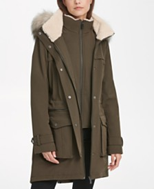 DKNY Faux-Fur-Trim Hooded Parka Coat