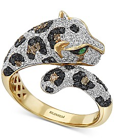 EFFY® Multi-Color Diamond (1-1/20 ct. t.w.) & Tsavorite Accent Ring in 14k Gold
