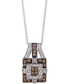 "Le Vian Chocolatier® Halo Cluster 18"" Pendant Necklace (3/8 ct. t.w.) in 14k White Gold"
