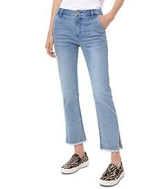 Frayed-Hem Ankle Jeans