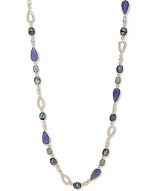 """Anne Klein Gold-Tone Crystal, Stone & Imitation Mother-of-Pearl 42"""" Strand Necklace"""