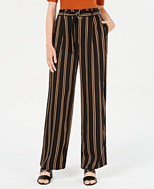 Rewash Juniors' Striped Belted Wide-Leg Pants