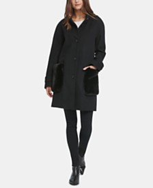 DKNY Petite Faux-Fur-Pocket Walker Coat