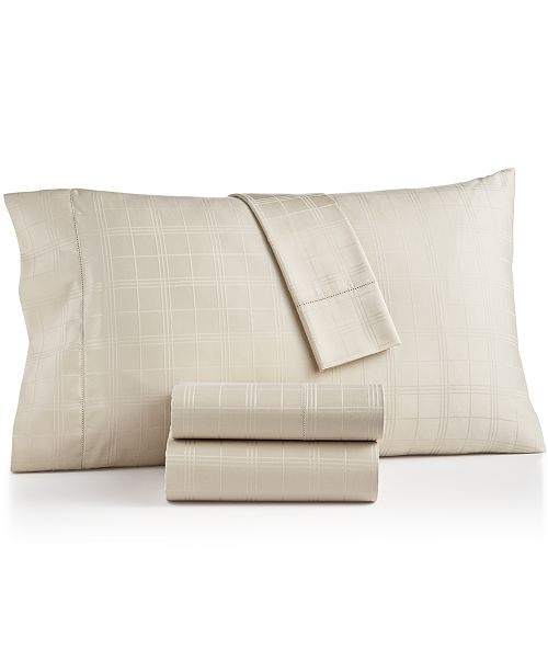 Charter Club Windowpane Supima Cotton 550-Thread Count 3-Pc. Twin Sheet Set, Created for Macy's