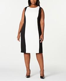 Calvin Klein Trendy Plus Size Colorblocked Sheath Dress