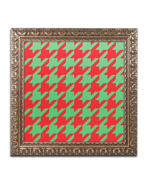 "Trademark Global Color Bakery 'Xmas Houndstooth' Ornate Framed Art - 16"" x 16"""