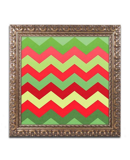 """Trademark Global Color Bakery 'Xmas Chevron' Ornate Framed Art - 11"""" x 11"""""""