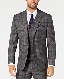 Men's Classic-Fit UltraFlex Stretch Dark Gray Windowpane Suit Jacket