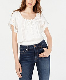 Juniors' Printed Flutter-Sleeved Crop Top, Created for Macy's