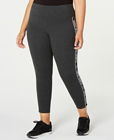 Calvin Klein Performance Plus Size Logo-Stripe Leggings
