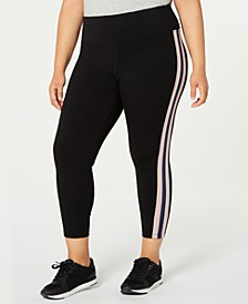 Plus Size Striped High-Waist Leggings