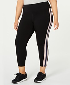 Calvin Klein Performance Plus Size Striped High-Waist Leggings