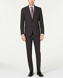 Men's Slim-Fit Ready Flex Stretch Charcoal Glen Plaid Suit
