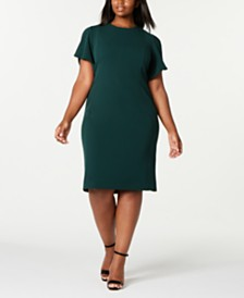 Calvin Klein Plus Size Puff-Sleeve Sheath Dress