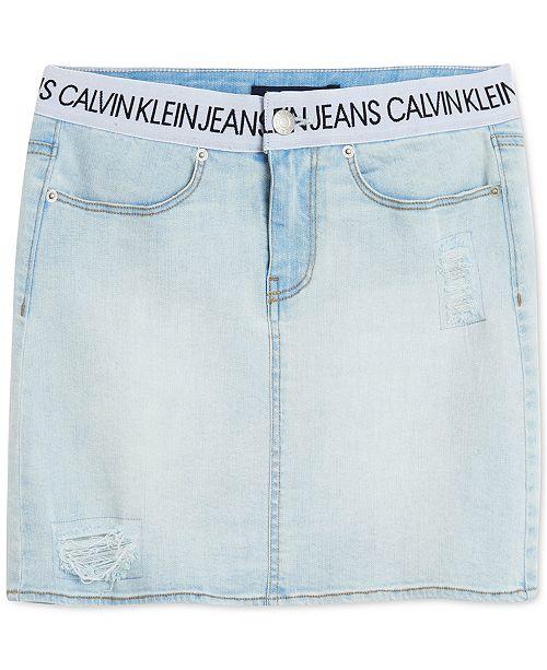 Calvin Klein Big Girls Logo Waistband Denim Skirt