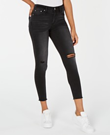 Tinseltown Juniors' Ripped Raw-Edged Skinny Jeans