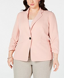 Plus Size Textured Single-Button Jacket