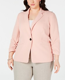 Kasper Plus Size Textured Single-Button Jacket
