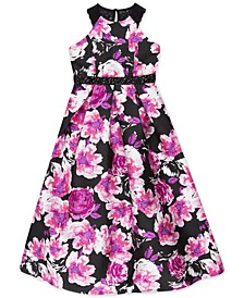 Big Girls Lace-Back Floral-Print Mikado Dress, a Macy's Exclusive Style