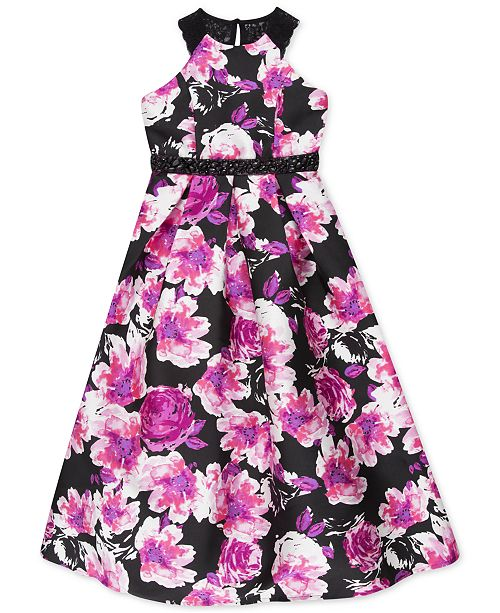 Speechless Big Girls Lace-Back Floral-Print Mikado Dress, a Macy's Exclusive Style