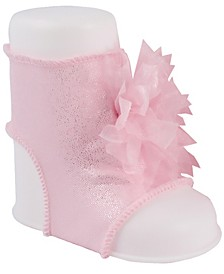 Baby Girl Shimmer Peep Toe Sock with Organza Ribbon Pom