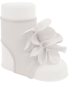 Baby Girl Peep Toe Sock with Flower Overlays