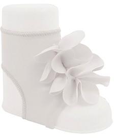 Baby Girl Peep Toe Sock with Flower Overlays