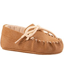 Baby Boy Suede PU Driving Moccasin with Tie