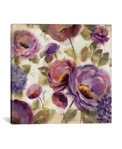 """iCanvas Blue and Purple Flower Song Ii by Silvia Vassileva Gallery-Wrapped Canvas Print - 26"""" x 26"""" x 0.75"""""""