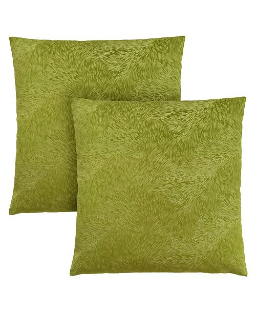 "Monarch Specialties 18"" x 18"" Feathered Velvet Pillow, Set Of 2"