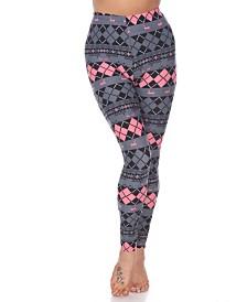 White Mark Women's One Size Fits Most Argyle Print Leggings