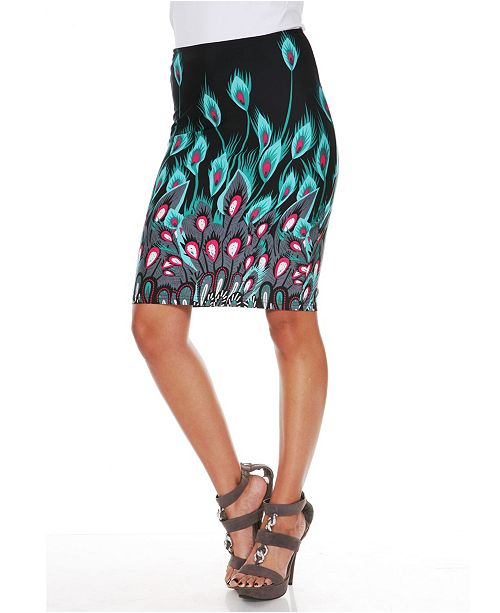 White Mark Feather Print Pencil Skirt