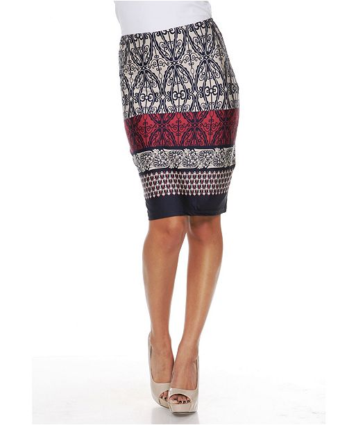White Mark Moroccan Print 'Victoria' Pencil Skirt