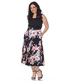 Plus Floral Print Tasmin Flare Midi Skirts