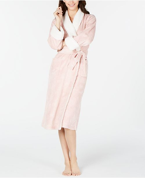Charter Club Petite Faux-Sherpa Trim Robe, Created For Macy's